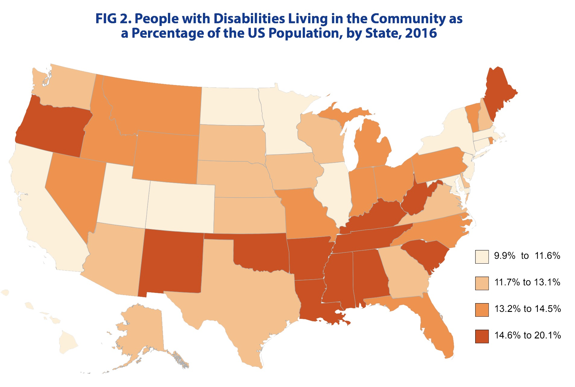 FIG 2. People with Disabilities Living in the Community as a Percentage of the US Population, by State, 2016
