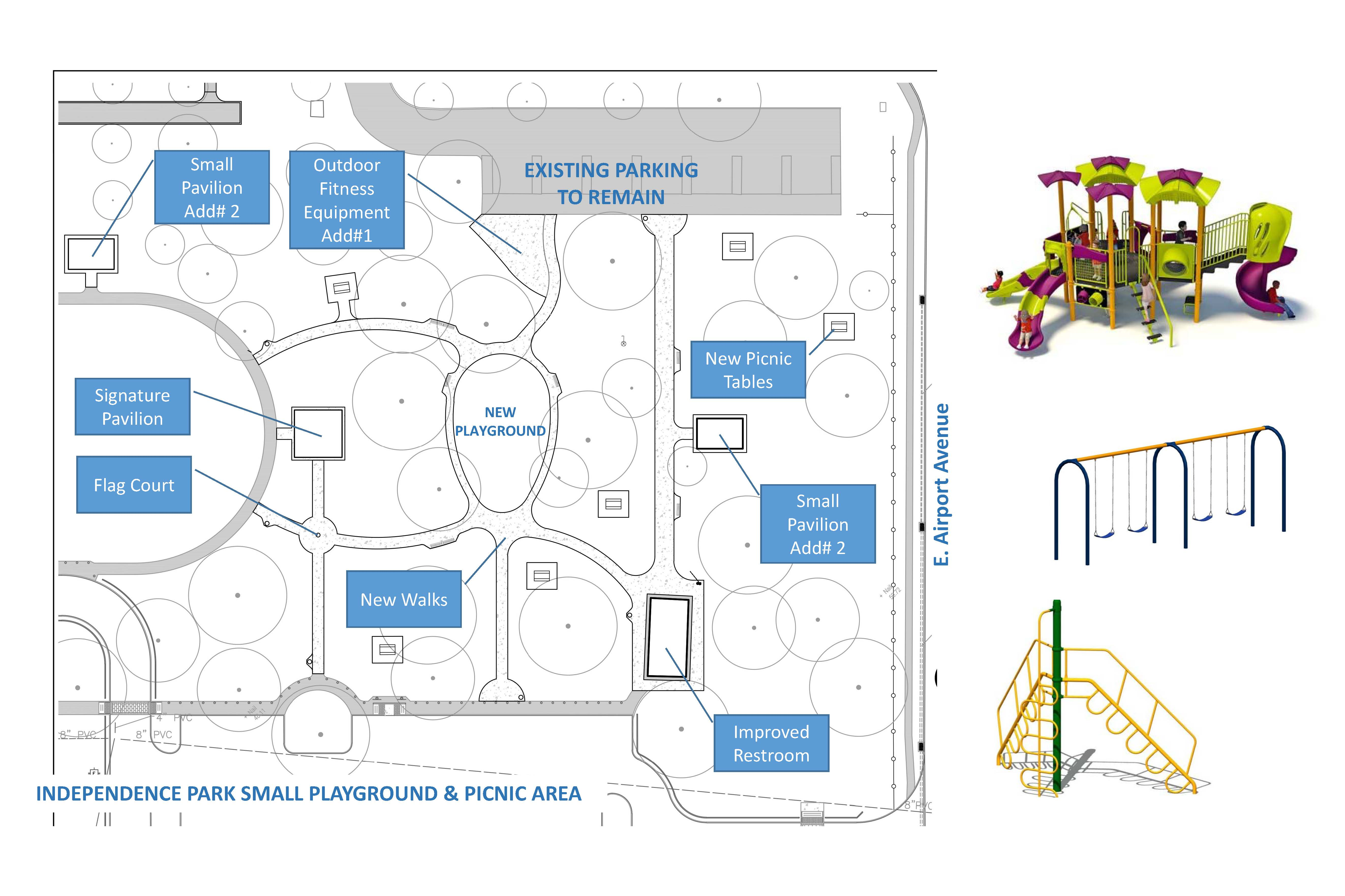 New Layout for expanded and improved playground area at Independence